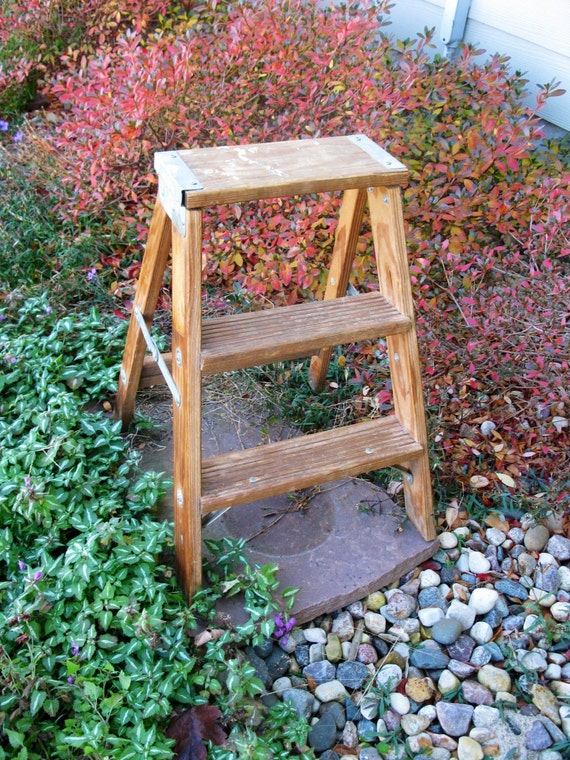 Vintage wooden step ladder step stool folding ladder plant - Ladder plant stand plans free ...