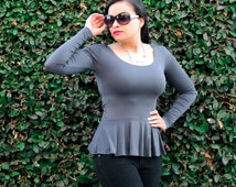 Peplum Top /Office Work Wear Blouse / Spring Fashion Shirt / Scoop Neck / Long Sleeves / Party Dressy Top / petite / tall /plus size /custom