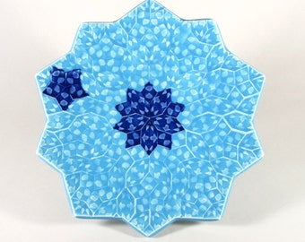 Dancing Stars Fruit Plate - Moroccan Plate - Turquoise and Cobalt Decorative Ceramic Platter - Porcelain Plate - Mandala Plate -