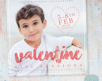 Valentines Mini Sessions Photography Marketing Template  - Photoshop template - IV018 - INSTANT DOWNLOAD