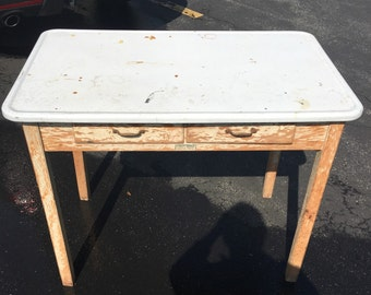 Vintage Porce Enamel Farm Table with 2 Drawers