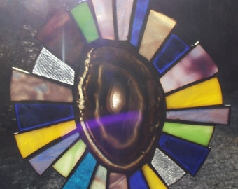 Stained Glass with Agate stone center
