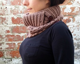 Scarf with button ,  Crochet scarf , Neckwarmer with button .Brown cowl, Brown scarf .