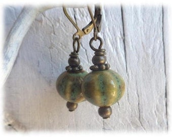 Green pumpkins - Dangle Earrings clay beads bronze green olive