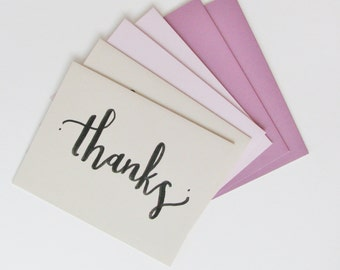 Thanks Purple Note Card Set Handlettered Greeting Cards