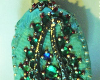 Beaded Ornament, hand made, with a silber Paisley