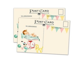 "Digital Baby Postcards, neutral gender/  4"" by 6"" and 2.5"" by 3.5"" / ATC, post card, Project Life/ instant download / retro baby with banner"