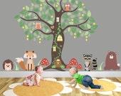 Woodland Nursery Decor Animal Wall Stickers around an Owl Tree Mural Decal. Fox and Bear Hedgehog and Raccoon baby decor Autumn Finds