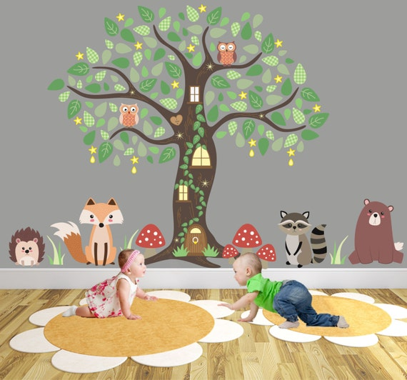 Woodland Nursery Decor Animal Wall Stickers Around An Owl
