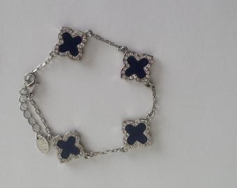 Silver Charm Blue Clover Bareclet with Crystal Stone clover,Tennis Bracelet, four leaf clover,gift for her