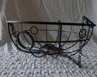 Vintage Wrought Iron Hanging Basket