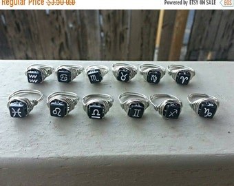 ON SALE Zodiac symbol wire wrapped silver ring