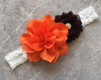 Baby headband, Orange flower headband, Ivory lace headband, Newborn headband, Baby girl headband, Orange brown headband, Fall headband