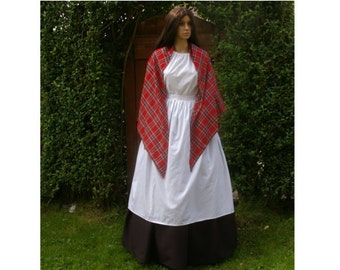 Victorian mill worker 4pc costume Royal Stewart shawl