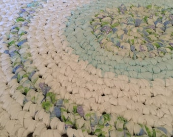 "Handmade 60"" Rag Rug Blue and white"