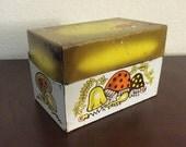 Vintage Mushroom Recipe Box, Recipe Box with Alphabet Dividers