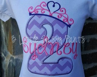 Princess Birthday Shirt- Custom Girls Birthday Shirt- Princess Crown Shirt- Embroidered- Applique- 2nd Birthday Shirt