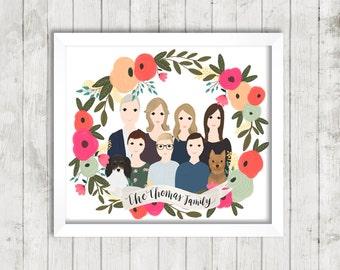 Custom Portrait Illustration  Floral Wreath   Couple Illustration   Family Portrait   Gift Idea   Hand Illustrated   Wedding Gift