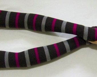 SALE Knit, Merino Wool, Stripes, Very Long Arm Warmers, Soft and Warm Fingerless Gloves, Hippie, Boho, with Thumb Hole. IDEAL for HER