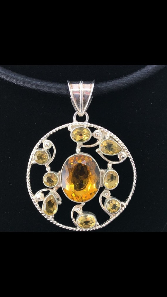 Sunny Citrine 925 Silver Pendant, with satin necklace included.