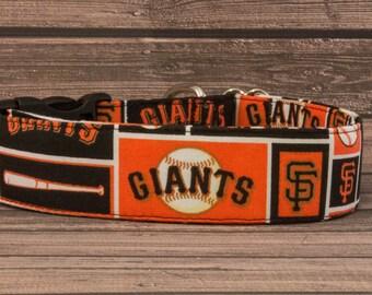 "Orange, Black & White ""The Giants"" Baseball Fabric Dog Collar"