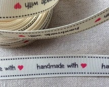 """Ribbon """"Handmade with Love"""" Grosgrain Ribbon, by the yard, Sewing Label -Tags"""
