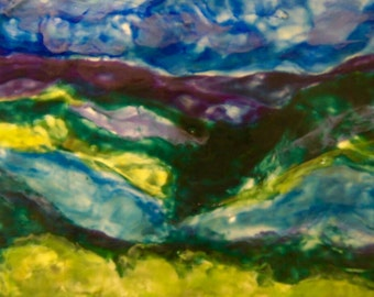 ALL NATURAL Encaustic (beeswax) Painting. Abstract Mountain Panorama Landscape. By Jessica Willis 24''x12''
