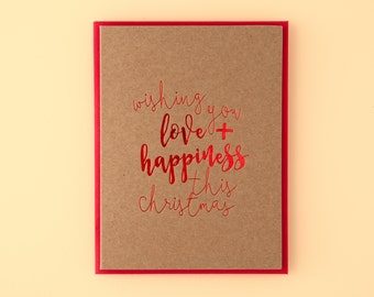 ON SALE // Wishing You Love And Happiness This Christmas Letterpress Greeting Card