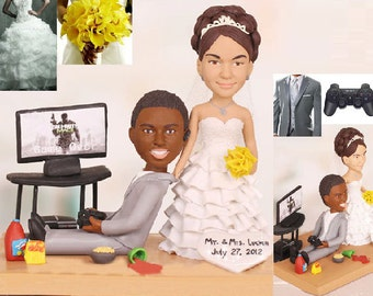 Gamer wedding topper - Personalised wedding cake topper - (Free shipping)