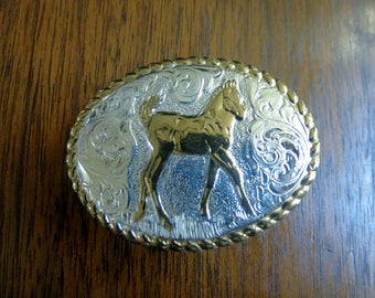 Youth Trophy Buckle Crumrine Silver and Gold Plate
