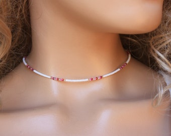 Tiny Beads Choker Necklace, White Seed bead Simple Jewelry