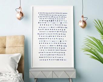 Blue Art Print, Minimalist Print, Large Wall Art, Heart Art, Navy Blue Art Print, Indigo Art, Minimalist Art, Nursery Print, Heart Print