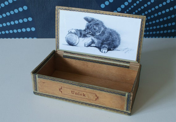 Vintage Cigar Box Cat Drawing Kitten Drawing By LucaTiesso