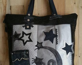 Grand sac cabas zippé en jean et plusieurs simili-cuirs, noir et argenté - chat sous les étoiles
