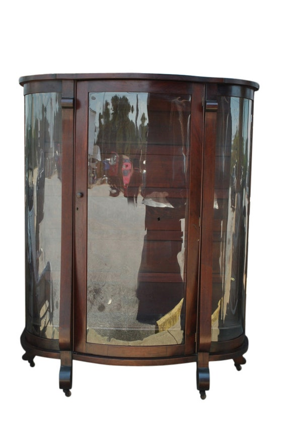 Antique American Empire Bow Front Mahogany China Curio
