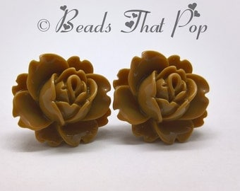 Tan Flower Earrings, Rose Stud Earrings, Light Brown Earrings, Handmade, Neutral Earrings, Great gift for all ages, Handmade in the USA!