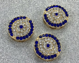 5pcs gold plated  evil eye  beads for jewelry project
