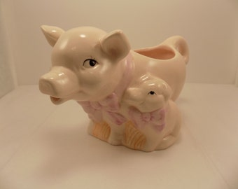 Vintage  Ceramic Mama Pig and Baby pitcher creamer or small planter made for Teleflora Gift