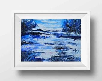 Abstract Art Print, Landscape Print, Palette Knife, Landscape by Lisa Elley, Winter Print, Winter Landscape, Snowy Trees, Abstract Art