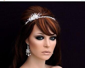 SALE - Swarovski Crystal Headband , Bridal Headpiece , Bridal Hair Accessory , Wedding Headband , Crystal Bachelorette Headband