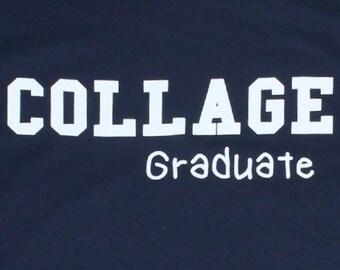 College Graduate Misspelled Funny Graduation Mens T-shirt Navy Blue