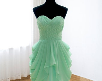 Simple bridesmaid dress, short prom dress, mint formal evening dress