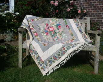 Commissioned Floral Throw, Patchwork Blanket, Picnic Rug, Beach Blanket, Travel Rug, Bed Cover.