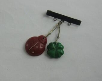 GOOD LUCK (clover and ladybug): Pin / brooch. Jablonec. Glass. Vintage (after 1945)