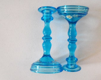 Candlestick Holders Tall Blue 2 Candle Holders