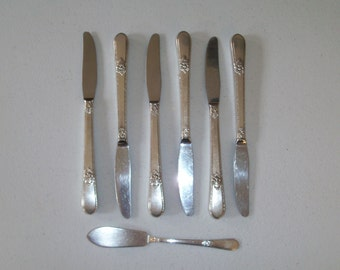 1847 Rogers Silverplate Adoration 1930 Set Of Six Knifes Plus