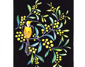 Hand tinted Lino Cut Print - Acacia
