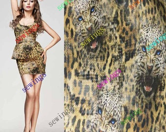 HUGE DISCOUNT cdk-4027 Blue Eyes Wild Cat Leopard Pattern !!! Nice Natural Pure Silk Fabric Crepe by Meters/ Yards Dressmaking Material
