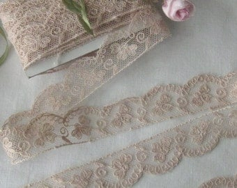 Beautiful Peachy/Beige Antique French Alencon Lace (sold by the yard) Sewing, Crafts, Doll Dresses, Teddy Bear Clothes