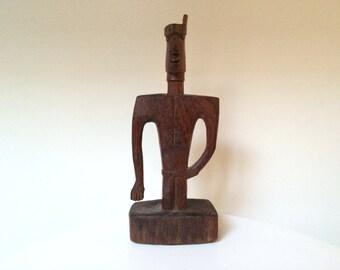Hand Carved Folk Art Figural Wood Table Sculpture